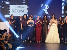 Actress Pooja walked the ramp here on Saturday night for designer Rebecca Dewan, who presented Belle Ame, a festive collection in French lace at 'She Matters - A Fashion Walk for a Cause'.