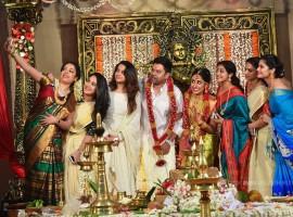 Raadhika clicking a selfie with Actress Bhavana, Miya George, Krishna Prabha, Sruthy Lakshmi and the couple.