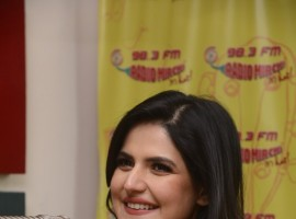 Zarine Khan promotes Aksar 2 at Radio Mirchi in Mumbai.