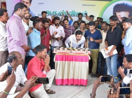 South Indian actor Arun Vijay celebrates his birthday with fans.
