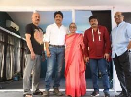 Nagarjuna-Ram Dopal Varma New movie launched event held at Hyderabad. Celebs like Nagarjuna, Ram Gopal Varma, Puri Jagannadh, JD Chakravarthy and others graced the event.