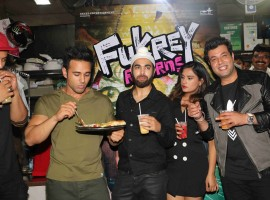 The entire star cast of the team including Varun Sharma, Pulkit Samrat, Ali Fazal, Manjot and Richa Chadha took to the streets to make impromptu visits to the favorite hang out spots of college students. The gang resonated with the fukreypanti of college students and marked visits at the famous eateries in town.