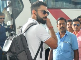 Indian captain Virat Kohli departs for Nagpur from Kolkata on Nov 21, 2017.