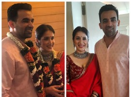 Senior Indian cricketer Zaheer Khan ties the knot with actor Sagarika Ghatge at a private a ceremony.