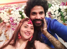 Actress Namitha with her Fiance Veer.