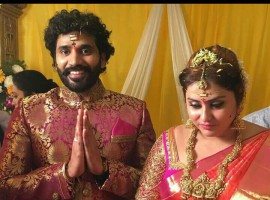 Veerendra ties the knot with Namitha in Tirupathi.