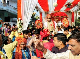 Indian cricketer Bhuvneshwar Kumar ties knot with Nupur Nagar in a grand ceremony in Meerut on November 23, 2017.