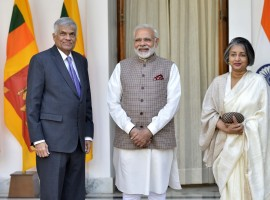 Prime Minister Narendra Modi met his Sri Lankan counterpart Ranil Wickremesinghe here on Thursday.