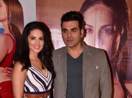 Actress Sunny Leone and Arbaaz Khan during the promotion of Bollywood film Tera Intezaar.
