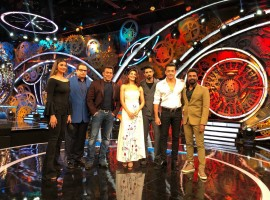 Actress Jacqueline Fernandez, Saqib Saleem, Bobby Deol, Daisy Shah along with director Remo D'Souza and producer Ramesh Taurani promotes Race 3 on Salman Khan's show on Bigg Boss 11.