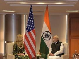 PM Narendra modi meets Ivanka Trump on the sidelines of the Global Entrepreneurship Summit in Hyderabad.