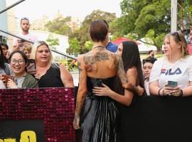 Ruby Rose flaunts her backless black dress at the Sydney premiere of Pitch Perfect 3 on November 29, 2017 in Sydney, Australia.