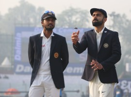 India won the toss and elected to bat first against Sri Lanka in the third Test at the Ferozeshah Kotla Cricket Ground here on Saturday. For India, pacer Mohammed Shami replaces Umesh Yadav and opener Shikhar Dhawan comes in place of Lokesh Rahul.