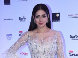 Sridevi poses for the cameras at the Red carpet at the Reliance Digital and Filmfare Glamour and Style Awards 2017 held in Mumbai on December 01, 2017.