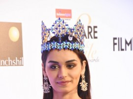 Manushi Chillar poses for the cameras at the Red carpet at the Reliance Digital and Filmfare Glamour and Style Awards 2017 held in Mumbai on December 01, 2017.