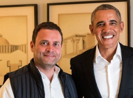 Congress Vice President Rahul Gandhi met former US President Barack Obama here on Friday and discussed the US-India relationship.