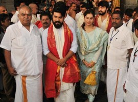 Actor Ram Charan and his wife Upasana Kamineni has visited Tirumala Tirupati temple and offered their special prayers to lord Venkateswara.