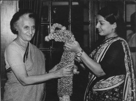 Jayalalithaa with former prime minister Indira Gandhi in New Delhi on 21 April 1984.