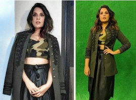 Richa Chadha wearing LabelSache's military bralet along with Promod's faux leather skirt and Vero Moda jacket and teaming it up with simple and elegant IIntoto's heels.