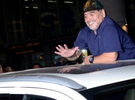 Amid much fanfare and tight security, Argentine football legend Diego Maradona reached the city for a three-day visit on Sunday. The iconic player, who is now coach of the Dubai-based club Al-Fujairah SC, was seen waving at fans before getting into the car, flashing the 'victory' sign at camerapersons and supporters and throwing flying kisses. He was wearing a navy-blue t-shirt and sported a military cap.