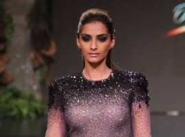 Bollywood Actress Sonam Kapoor walks the ramp at Blenders Pride Fashion Tour 2017.