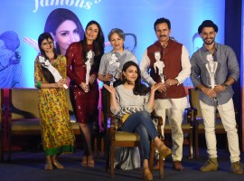 Sharmila Tagore and her family pose on the stage at during book launch at hotel Taj Lands End in Mumbai.