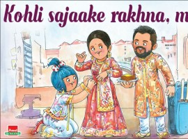 The company on Tuesday tweeted an advertisement where the little Amul girl is seen dressing Anushka's character, while Virat's character is seen holding a plate of bread and butter. The advertisement reads: