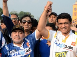 Argentine football legend Diego Maradona with Cricket Association of Bengal (CAB) president Sourav Ganguly during a sports workshop in Barasat.