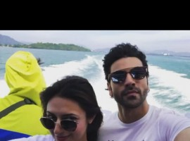 Divyanka Tripathi with husband Vivek Dahiya on ferry in Thailand.