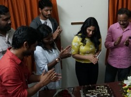 Gautham Karthik, Ramya, Dhananjayan celebrate Regina Cassandra birthday on Mr.Chandramouli sets.