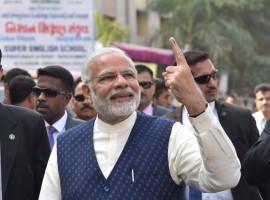 Prime Minister Narendra Modi on Thursday cast his vote in the second phase of the Gujarat Assembly elections, amid loud cheers from a crowd gathered outside the polling booth in Ranip here.