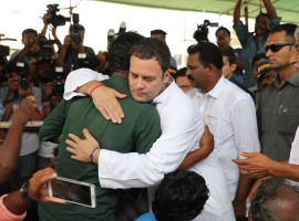 Congress President-elect Rahul Gandhi on Thursday visited fisherfolk in Kerala's two coastal villages and one in Tamil Nadu affected by cyclone Ockhi and demanded a separate Ministry for fisheries.