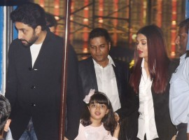 Abhishek Bachchan, Aishwarya Rai Bachchan and Aaradhya Bachchan arrive at the annual function of Dhirubhai Ambani International School in Mumbai.