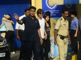 Shah Rukh Khan and Suhana Khan arrive at the annual function of Dhirubhai Ambani International School in Mumbai.