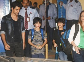 Hrithik Roshan, Hrehaan Roshan, Hridhaan Roshan and Sussanne Khan arrive at the annual function of Dhirubhai Ambani International School in Mumbai.