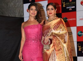 Priyanka Chopra poses with Sridevi at Zee Cine Awards 2018.