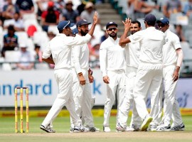 South Africa set India a target of 208 in the opening cricket Test after being bowled out for a paltry 130 in their second innings at Newlands here on Monday. Resuming from Saturday's total of 65/2 as the third day's play was completely washed out, the hosts failed to get going and could only manage to add 65 runs before losing the final eight wickets.
