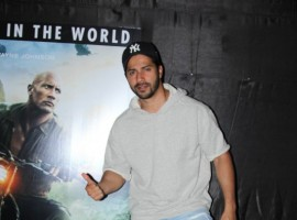 Varun Dhavan poses for a photo at the special screening of Jumanji at Lightbox.