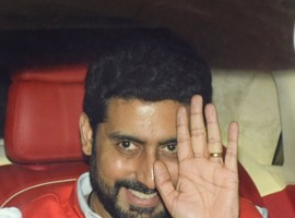 Bollywood actor Abhishek Bachchan arrives for the birthday party of Farah Khan held at her residence in Mumbai.