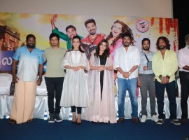 Celebs pose for the photo-ops during Kalakalappu 2 press meet in Chennai.