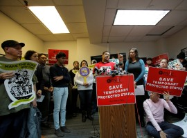 Salvadoran immigrant Hugo Rodriguez speaks during a news conference at the New York Immigration Coalition in Manhattan.