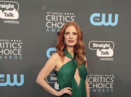 Jessica Chastain poses for photographers at Critics choice red carpet.