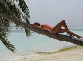 Alesha Dixon shows off toned figure in vibrant bikini.