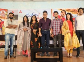 Telugu movie Rangula Ratnam pre-release event held in Hyderabad. Celebs like Nagarjuna, Raj Tarun, Chitra Shukla and Sitara graced the event.