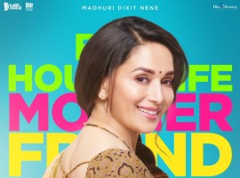 Madhuri unveiled the look via Twitter on Sunday. The poster features her dressed in a traditional green sari with a contrast blouse, a round red bindi on the forehead, a mangalsutra in the neck and her hair loosely tied. The make-up seems bare minimum, giving her a look reminiscent of that of Sridevi from