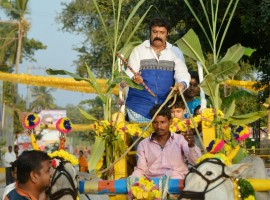 Actor and politician Nandamuri Balakrishna celebrates Sankranthi at Naravaripalli.