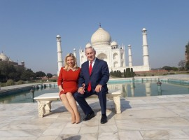 Israeli Prime Minister Benjamin Netanyahu and his wife Sara spent over an hour visiting the Taj Mahal in Agra on Tuesday. The Israeli Prime Minister and his wife were welcomed by Uttar Pradesh Chief Minister Yogi Adityanath at the Kheria airport early in the morning.