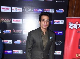 Sonu Sood poses for photographers on her arrival at the 'Society Achievers Awards 2018' in Mumbai.