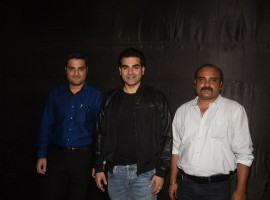 Producer director Pradeep Rangwani, Arbaaz Khan and director Subroto Paul at the special screening of Nirdosh.