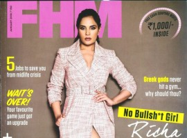The actress is seen sporting an overcoat dress with captivating eye makeup and a sleek hairdo. This January cover is themed Richa Chadha as the